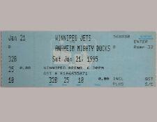 Paul Kariya 1st Career NHL Goal 1/21/1995 Ducks vs Jets game ticket NRMT to Mint