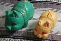 Lot of 2 Vintage Reliable hard plastic blue piggy bank gold red accent Canada