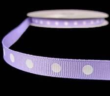 """5 Yds Lavender Pastel Purple White Dotted Polka Dot Grosgrain Ribbon 3/8""""W"""