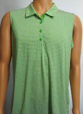 Women's EP Pro Tour Tech Green/White Striped Sleeveless Golf Polo Sz 2XL XXL