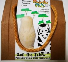 Zoe the Zebra 3-piece nesting Russian Doll. Paint Your Own PaintaPet. New