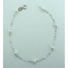 Bracciale bimba in oro bianco 18 kt carati con perle d'acqua dolce