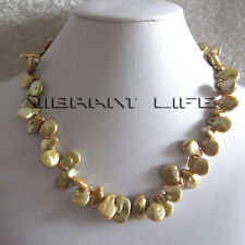 """18"""" 13-14mm Coin Champagne Freshwater Pearl Necklace Sq Ac"""