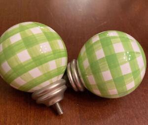 Set of 2 Pottery Barn Kids Green & White Gingham Resin Finials 2.5'' Diameter
