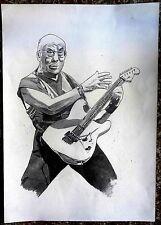 """14th Dalai Lama Tenzin Gyatso on Guitar mixed media painting 11.5"""" x 16.5"""" Tibet"""