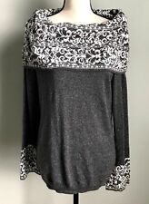 New Anne Klein Large Gray Silver Shimmer Cowl Neck Sweater Bell Sleeves