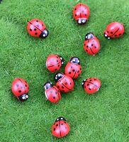 25 Painted Wooden Ladybugs 10 x 8 mm  Kawaii  Cabochons Adhesive Scrap Booking