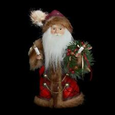 "Woodland Santa Christmas Tree Topper Top 10"" Lights Burgundy Brown"