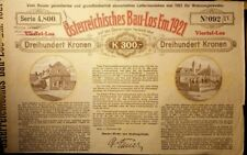 Seltenes altes Österreichisches Baulos 300 Kronen 1921 top Rarität