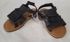 New Girls Cherokee Black Kimi Fringe Slide Sandals Children's Shoes Size 9