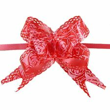 Rose Print Christmas Decoration Gift Wrap Red Pull Bow Ribbon 10 Pcs S9 A8C0