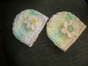 PACK X 2 SOFT CHUNKY HANDCROCHETED HATS...To FIT TINY/PREM AND BABY DOLLS