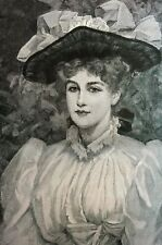 Parsons Daughter 1890 LOVELY LADY in BIG BONNET HAT w BOW Matted SKIPWORTH Print