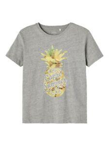 NAME IT Jungen T-shirt NKMVagno grau Summer Ananas Größe 116 bis 146/152
