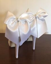 White Satin Shoe Clips Bow Clips For Heels Faux Pearl Bead Centre
