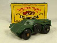 Matchbox Moko Lesney No 61 Daimler Ferret Scout Car (Black wheels)