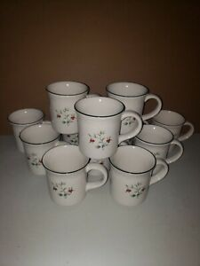 Pfaltzgraff Winterberry (12) Straight Sided Mugs Green Holly Red White Berry