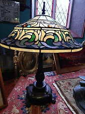 Tiffany Style Table Lamp Bedroom Living Room Glass Hand Made Irises 46cm