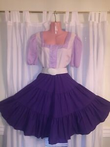 Square Dance- Purple & White Gingham Top & Skirt- Large / XL
