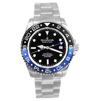 Oceaneva Men's Deep Marine Explorer GMT 1250M Pro Diver Watch Blue and Black