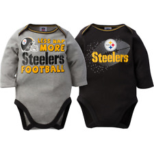 Pittsburgh Steelers NFL Infant Boys' 2-Pack Long-Sleeve Bodysuits, 3-6 Months