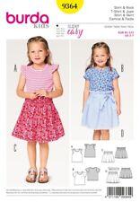 Burda Sewing Pattern 9364 Girls Shirt Skirt Tee T-shirt Size 2-7