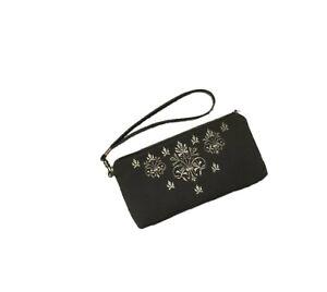 """Golden Embroidery Cosmetic Bag, Eyeglass Case Grey """"Agata"""" 818-2-2460"""