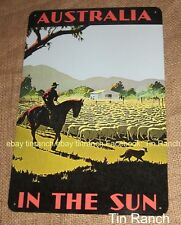 vintage COUNTRY Australia TRAVEL TIN SIGN Sheep Muster horse OUTBACK FARMER farm