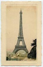 FORMAT CARTE POSTALE / EAU FORTE ILLUSTRATEUR /  PARIS LA TOUR EIFFEL