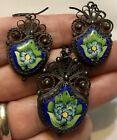 Vintage PERSIAN Middle East SILVER & HP ENAMEL Necklace Pendant Earring SET NR