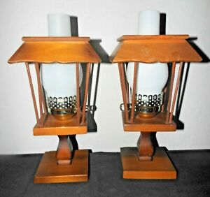 LAMPS PAIR VINTAGE LIGHT-WEIGHT WOOD LAMP POST THEMED HURRICANE TABLE LAMPS