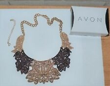Costume Jewellery Ring Set Sets Bn Avon Designer Style Embossed Gold Metal Locket Pendant Necklace
