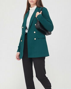 V By Very Military Blazer Lined Green UK Size 16