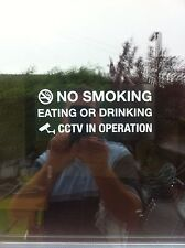 No Smoking Eating Or Drinking CCTV Operation Sticker Window Taxi Self Adhesive