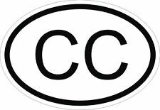 CC Consular Corps Country Code Oval Sticker for bumper Laptop Door Helmet Car