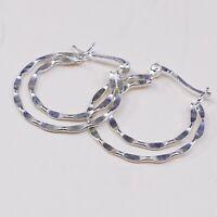 "1"", Italy 925 Sterling Silver Hoop Pierced Earrings, 925 silver huggie"