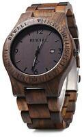 Bewell ZS-W086B Mens Wooden Watch Lightweight Calendar Analog Quartz Movement