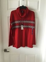 Chaps  Size L Cowell Neck Red Gray Black Long Sleeve Lightweight Top Nwt