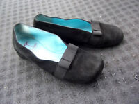 thierry rabotin black leather suede shoes bow made in italy 39.5 40 9 9.5