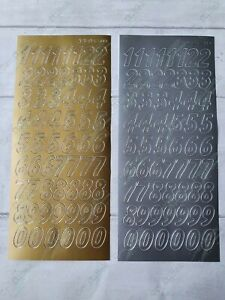 JEJE peel off outline stickers - large numbers - gold & silver !FREE P&P!