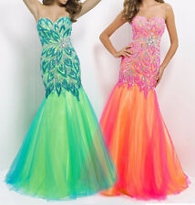 Flower Peacock Homecoming Prom Dress Mermaid Long Fish Tail Evening Party Gown
