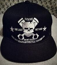 Pistons Motorcycle V-Twin Biker Cap hat Tattoo Skull Goth Mesh Trucker Hat Cap