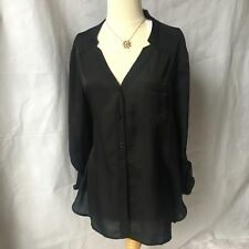 Chico's Women's Black Blouse Long Sleeve Button Up Ladies Top Shirt NWT Size 2