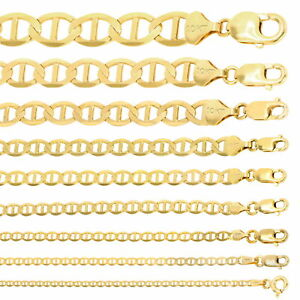 "10K Yellow Gold Solid 2mm-10.5mm Mariner Anchor Chain Necklace Bracelet 7""- 30"""