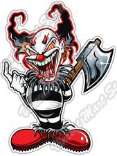 """Evil Clown Jester Joker Angry Fangs Axe Car Bumper Vinyl Sticker Decal 4""""X5"""""""