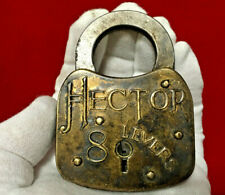 "New ListingRare ""Hector"" Eight Lever Padlock Lock (No Key) Vintage Antique - Nr"