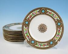 "Set 9 Antique English Porcelain Handpainted 9"" Plates Coalport Copeland Dinner"