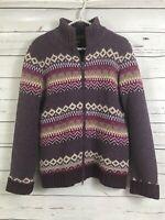 Eddie Bauer 100% Lambs Wool Womens Full Zip Sweater Medium Purple Fair Isle Pink