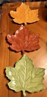 """Large Leaf Shaped Plates - Brown, Green, Yellow - Fall, Autumn, Thanksgiving 11"""""""