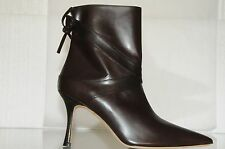 NEW Manolo Blahnik CLASSIC Ankle Boots Leather Dark Brown Booties Shoes 39
